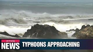 Typhoons Lekima and Krosa heading north towards China and Japan