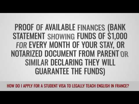 video on how to apply for a student visa to legally teach in france