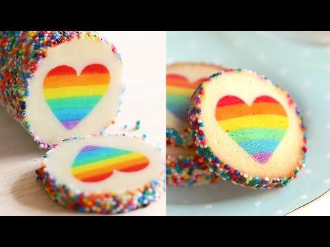 """Eugenie Cookie"" Rainbow Heart Cookies Slice & Bake Surprise"