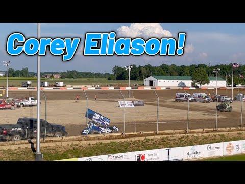 Corey Eliason 410 Qualifying at Attica Raceway Park! (Ohio Speedweek) - dirt track racing video image