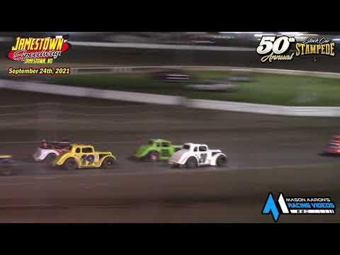 Jamestown Speedway INEX Legends A-Main (50th Jamestown Stock Car Stampede) (9/24/21) - dirt track racing video image