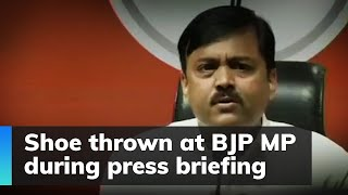 Watch: Shoe thrown at BJP MP during press briefing