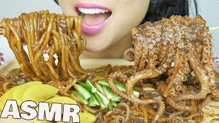 ASMR Blackbean Noodles + Octopus (EATING SOUNDS) NO TALKING | SAS-ASMR