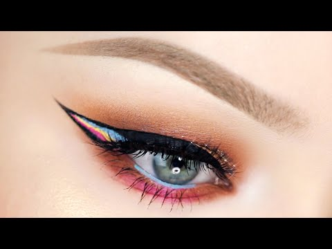Glittery Peach Summer Eyes with RAINBOW Liner! - UCzTKskwIc_-a0cGvCXA848Q
