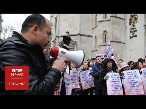 Người Việt làm nail phản đối phiên tòa xử 'nô lệ' ở Anh