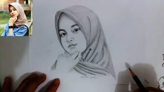 Dunia Belajar Sketsa Wajah Wanita Cantik Berhijab