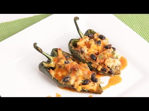 Chicken Enchilada Stuffed Peppers Recipe - Laura Vitale - Laura in the Kitchen Episode 956 - UCNbngWUqL2eqRw12yAwcICg