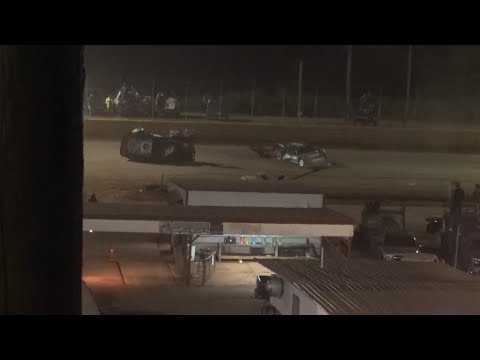 HUGE Flip in 602 Thunder series at Lavonia Speedway October 16th 2021 - dirt track racing video image
