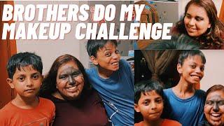brothers do my makeup challenge!
