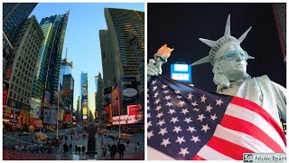 NYC by Train || Times Square at Night || New York Street Food || আমেরিকায় ট্রেন ভ্রমণ।