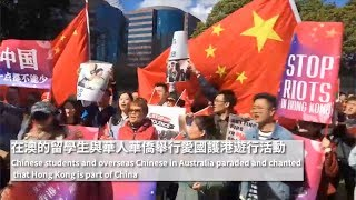 Overseas Chinese gather in Sydney calling for end to violence in China's Hong Kong
