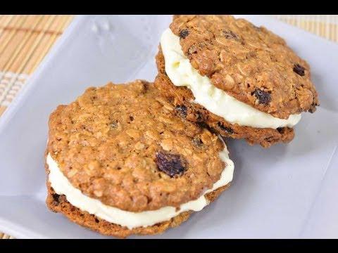 ไอศกรีมคุกกี้ข้าวโอ๊ตแซนวิช Oatmeal Ice Cream Sandwich Cookies - foodtraveltvchannel