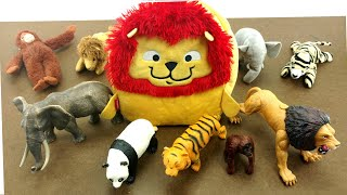 Cute Little Lion Bag Full Of Toy Surprises/Match the soft toys Animals to the original ZOO Animals
