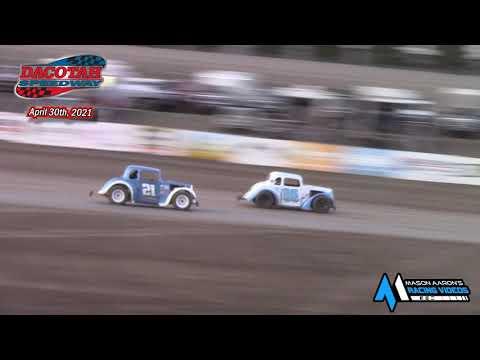 Dacotah Speedway INEX Legends B-Main (4/30/21) - dirt track racing video image