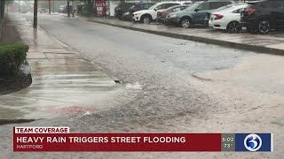 Video: Heavy rain triggers street flooding in Hartford