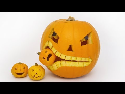 How to Carve a Pumpkin Eating a Pumpkin - Halloween