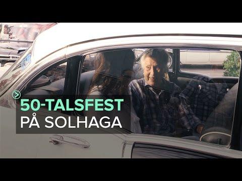 Kungälv - Folkparksfest på Solhaga med raggarbilar och 50-talskläder