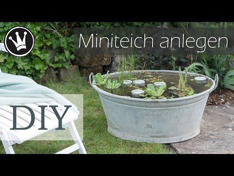 DIY – Miniteich in Zinkwanne | Miniteich anlegen | Zinkwanne dekorieren  | Gartendeko DekoideenReich