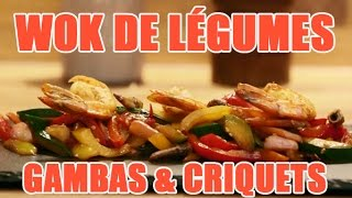 Recettes de cuisine : Minute Cuisine Recette de wok aux gambas avec des criquets en vidéo