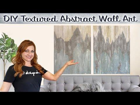 DIY Textured Abstract Wall Art   Dollar Tree + Hobby Lobby + Walmart   *Easy Canvas Painting Ideas!