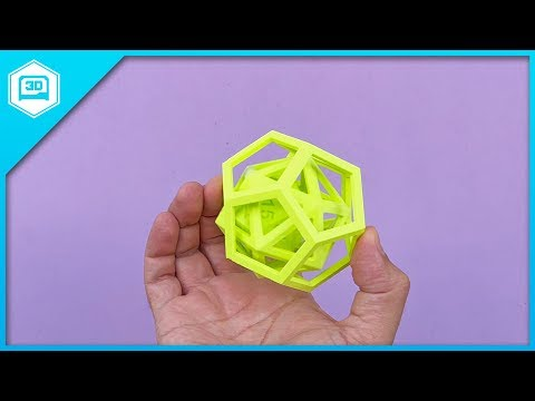 D20 inside icosahedron // Using PVA Dissolvable Filament