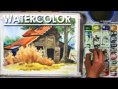 Watercolor Barn tutorial : easy steps to follow, step by step Drawing to Coloring