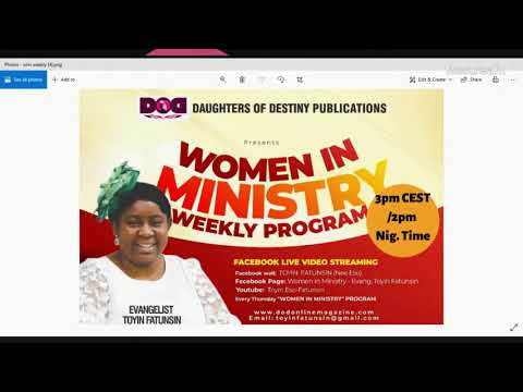 WOMEN IN MINISTRY WEEKLY PROGRAM- ABIDING IN YOUR CALLING