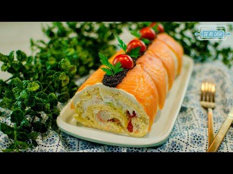 ? ¡INCREIBLE! ? TRONCO Salado de NAVIDAD ?? Pastel Frío de Salmón Ahumado | Recetas de Navidad 17/24