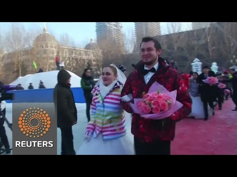 Couples tie the knott at China's ice festival