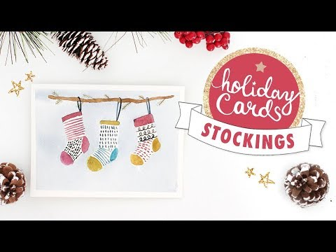 Christmas Stockings Watercolor Card Tutorial | 2018 Holiday Card Series