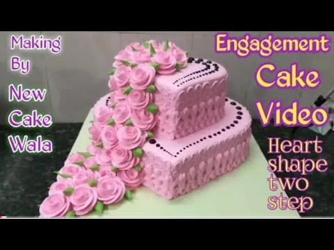 $$ENGAGEMENT CAKE $$How to make Engagement heart shape cake pink colour making by New Cake wala - UC0z6B6GjsB0ghAt9F_q38VA