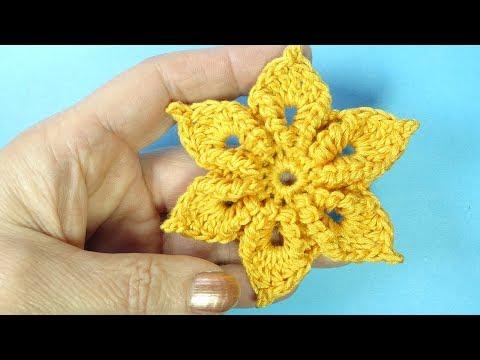 Эксклюзив! Цветок с витыми лепестками Crochet flower pattern Вязание крючком  106