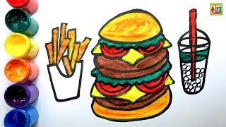 Learn drawing and coloring Hamburger | The Best Art For Kids