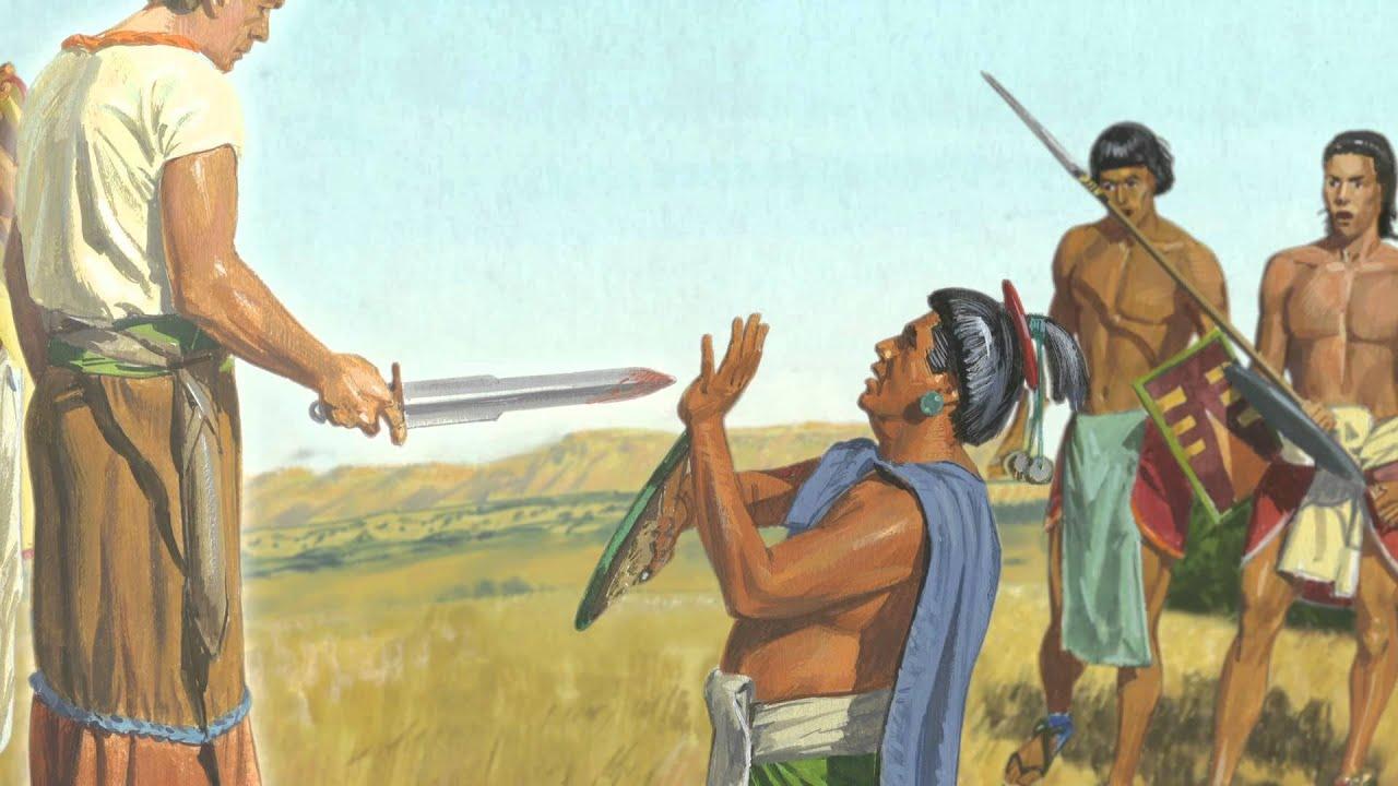 Ammon und König Lamoni treffen auf dessen Vater. (Alma 20)
