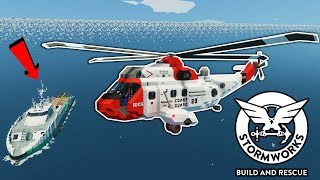 We Rescued a Crew From a Tsunami in a Helicopter! - Stormworks Multiplayer - Tsunami Survival
