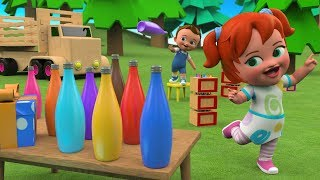 Learn Colors for Children with Little Babies Elephant and Giraffe Fun Play with Color Bottles