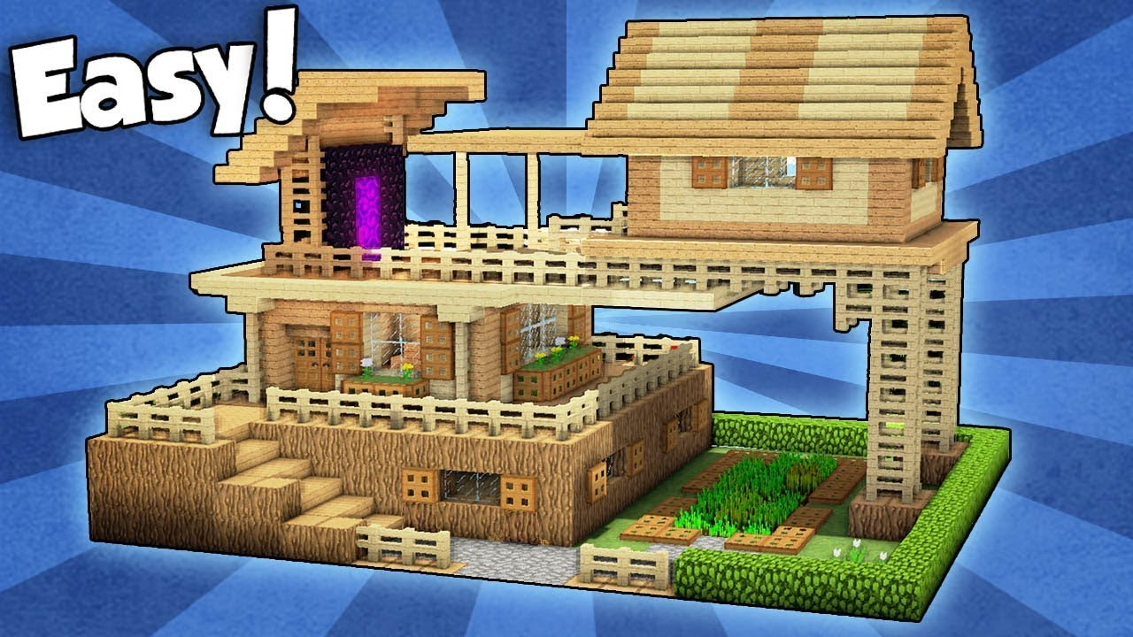 Minecraft advanced starter house tutorial how to build a house in minecraft easy