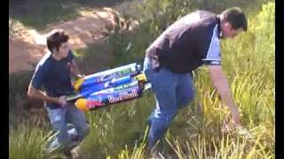 Rick Kelly's remote control jet car crash