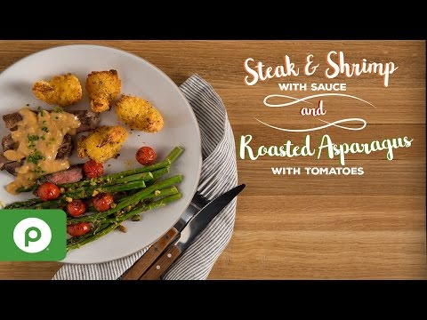 Steak and Shrimp with Sauce and Roasted Asparagus with Tomatoes. A Publix Aprons recipe.