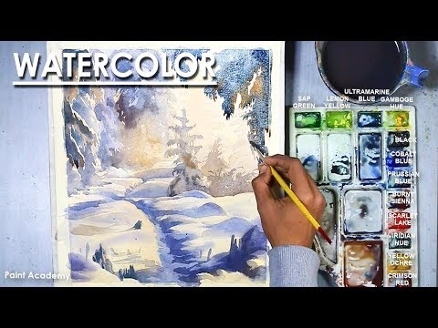 Watercolor Winter Landscape : How to Paint A Winter Snow Scene in watercolor