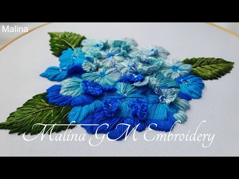 How to Embroider a Hydrangea Flower || Flower still life