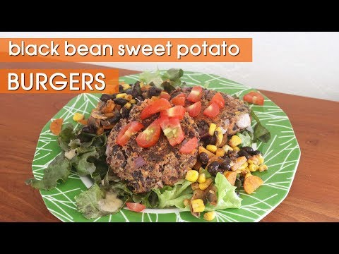 Black Bean Quinoa Sweet Potato Burgers || Healthy Vegan Recipes