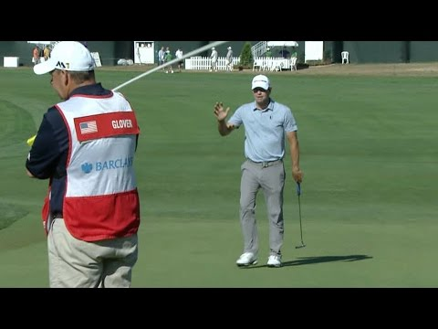 Lucas Glover drains lengthy birdie putt at The Barclays