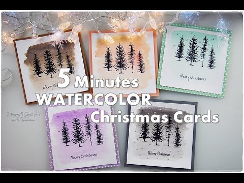 5 Minutes Easiest Watercolor Christmas Cards ♡ Maremi's Small Art ♡