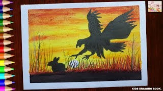 KIDS DRAWING BOOK! EAGLE IS HUNTING RABBIT DRAWING WITH OIL PASTELS FOR KIDS! HD NEW 2019