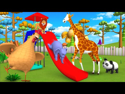 Elephant & Monkey Play with Forest Animals to Ride on Slider in Jungle | Animals Comedy Video - UC_ghLCBI7Si-GzClJ7xJqrQ