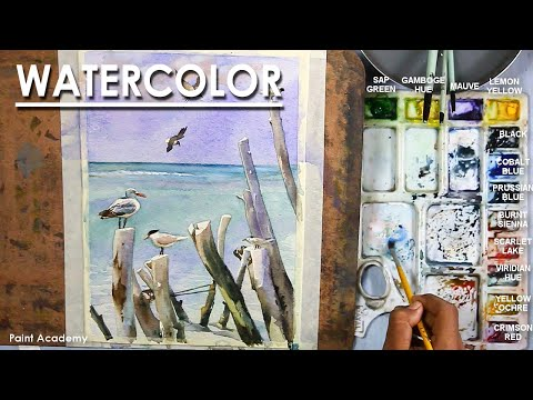 Watercolor Painting : A Composition on Seagulls on the Beach