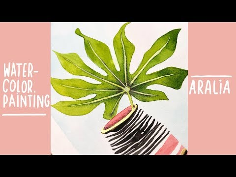 how to paint an aralia leaf in a vase