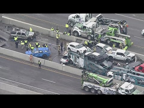 RAW: Aerial footage of deadly pileup crash in Fort Worth, Texas involving up to 100 vehicles