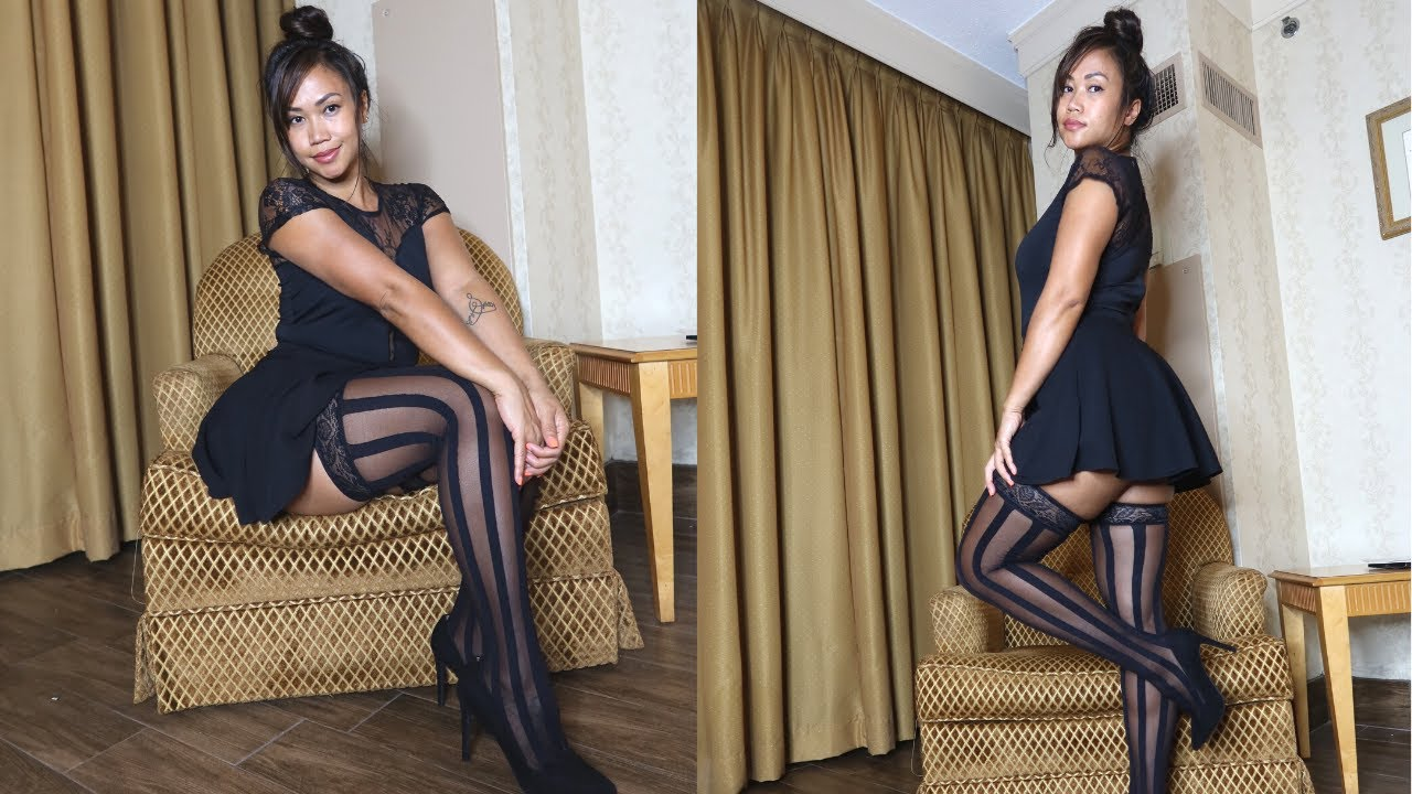 LACE TOP , SKATER SKIRT & STRIPED STOCKINGS | HOW TO STYLE WITH HOSIERY